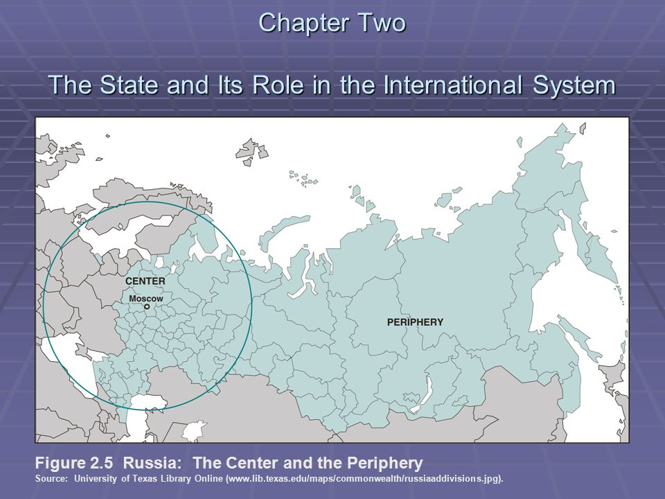 Chapter Two The State and Its Role in the International System Figure 2.5 Russia: The Center and the Periphery Source: University of Texas Library Online (www.lib.texas.edu/maps/commonwealth/russiaaddivisions.jpg).