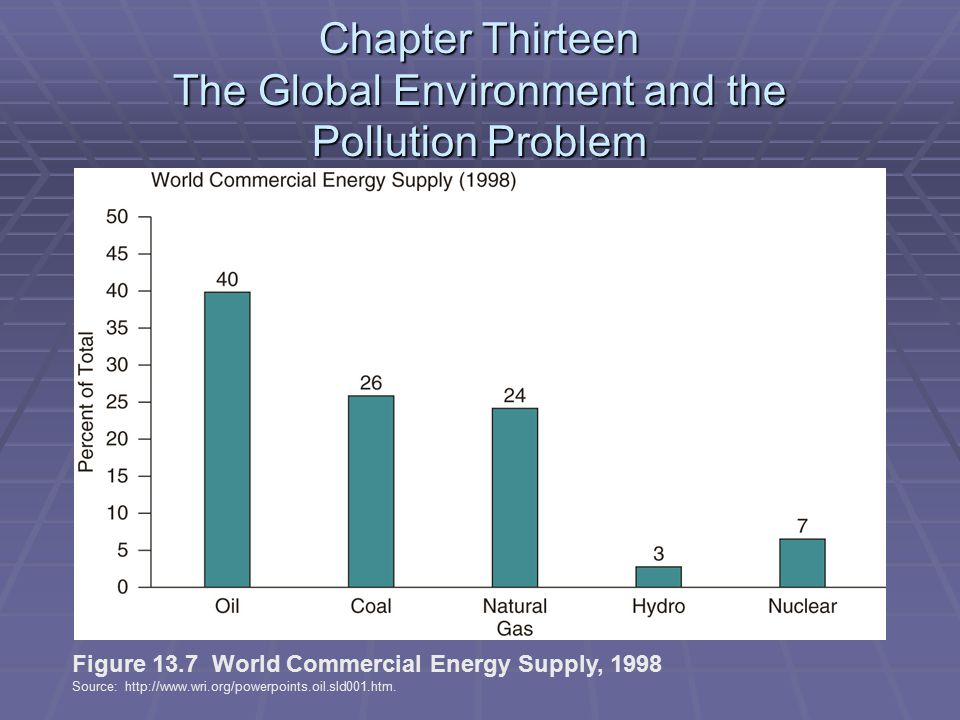 Chapter Thirteen The Global Environment and the Pollution Problem Figure 13.7 World Commercial Energy Supply, 1998 Source: http://www.wri.org/powerpoints.oil.sld001.htm.