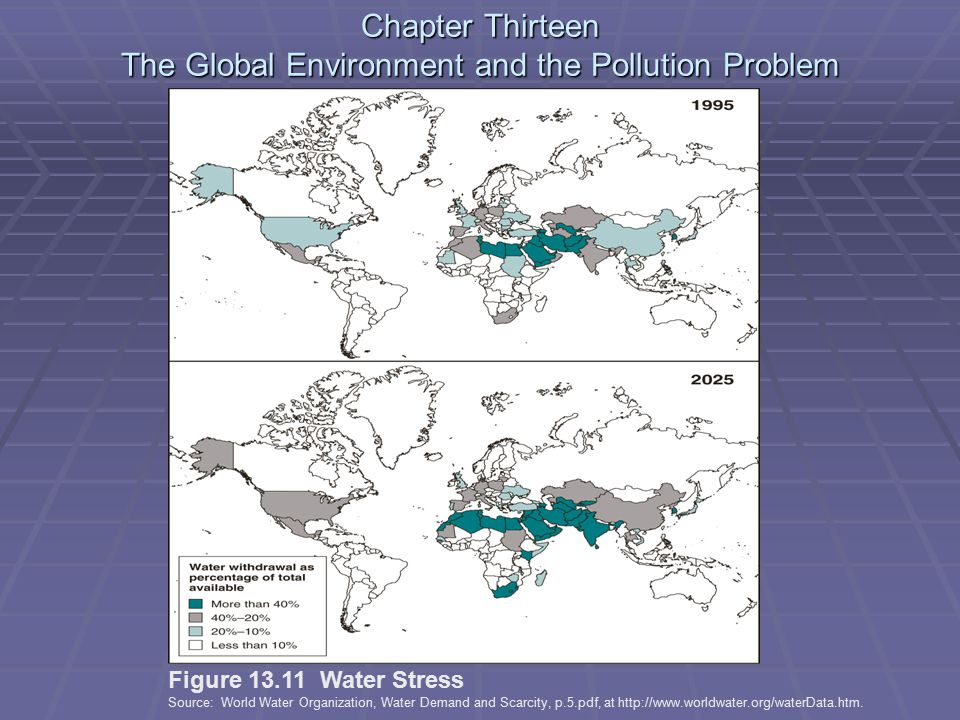 Chapter Thirteen The Global Environment and the Pollution Problem Figure 13.11 Water Stress Source: World Water Organization, Water Demand and Scarcity, p.5.pdf, at http://www.worldwater.org/waterData.htm.