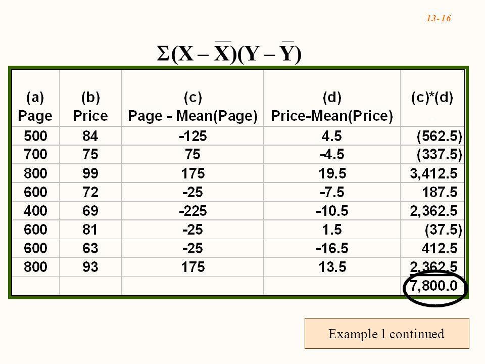 13- 16  (X – X)(Y – Y) Example 1 continued