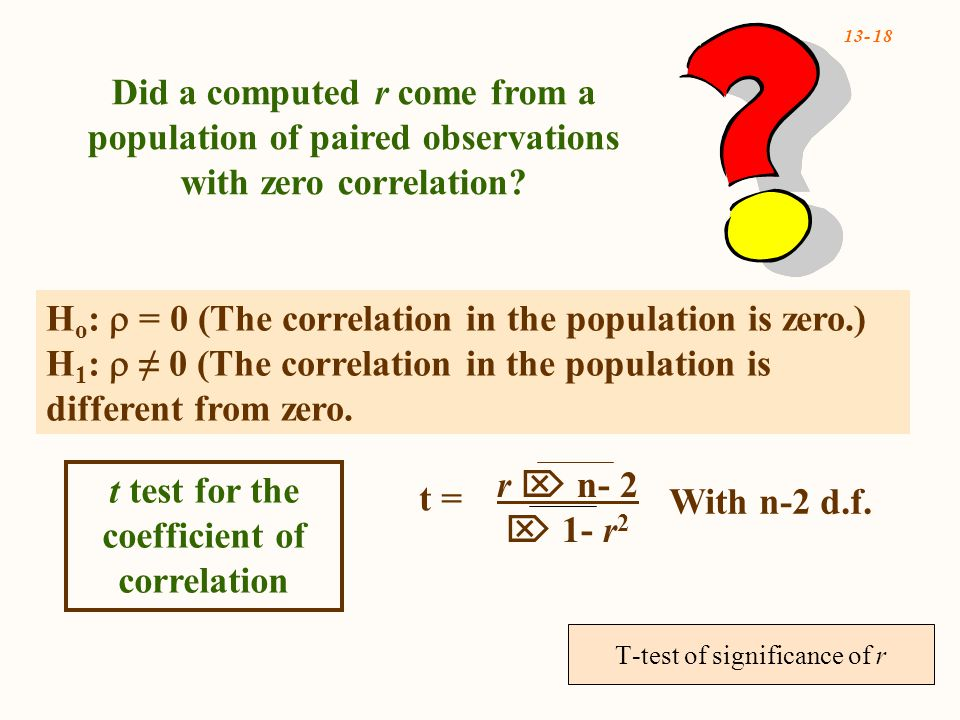 13- 18 Did a computed r come from a population of paired observations with zero correlation.