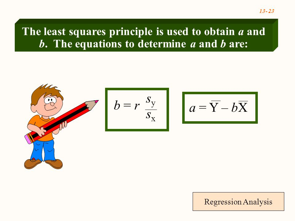 13- 23 Regression Analysis b = r sysxsysx a = Y – bX The least squares principle is used to obtain a and b.
