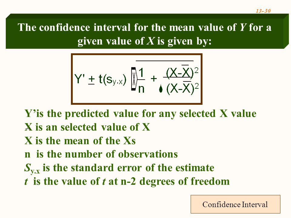 13- 30 Confidence Interval Y'is the predicted value for any selected X value X is an selected value of X X is the mean of the Xs n is the number of observations S y.x is the standard error of the estimate t is the value of t at n-2 degrees of freedom The confidence interval for the mean value of Y for a given value of X is given by: