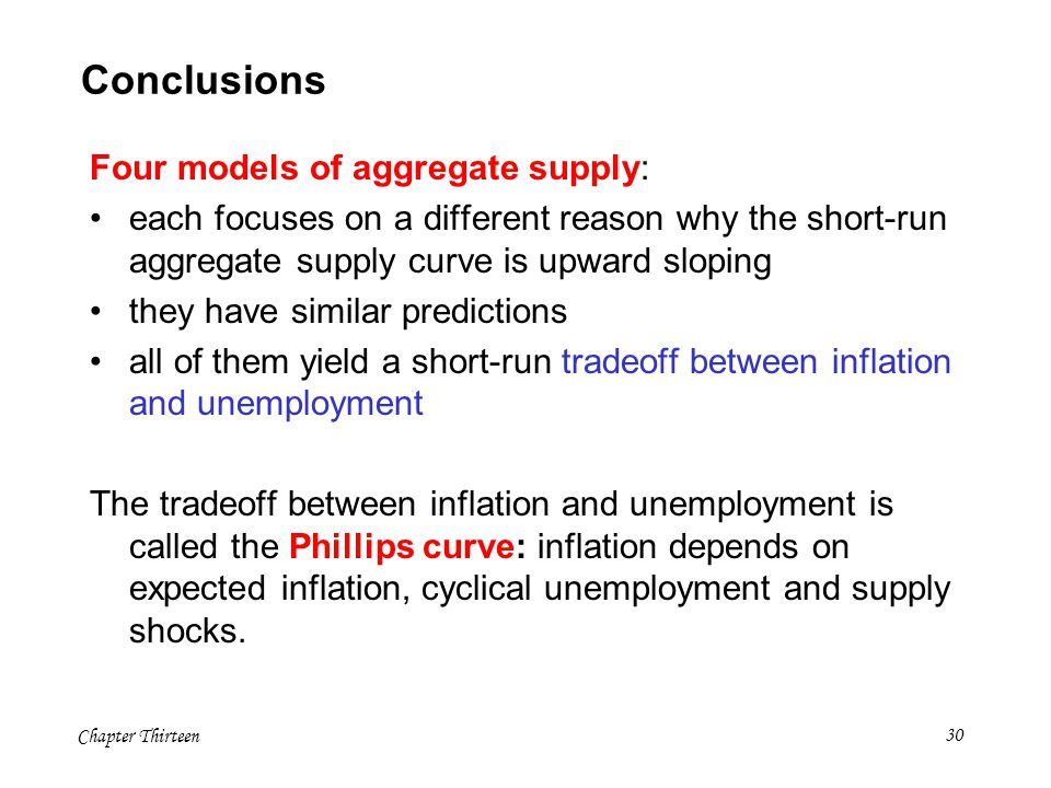 Chapter Thirteen30 Conclusions Four models of aggregate supply: each focuses on a different reason why the short-run aggregate supply curve is upward