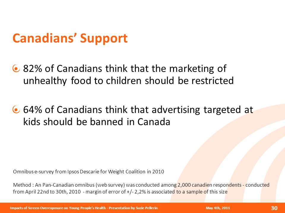 Canadians' Support 82% of Canadians think that the marketing of unhealthy food to children should be restricted 64% of Canadians think that advertising targeted at kids should be banned in Canada Omnibus e-survey from Ipsos Descarie for Weight Coalition in 2010 Method : An Pan-Canadian omnibus (web survey) was conducted among 2,000 canadien respondents - conducted from April 22nd to 30th, 2010 - margin of error of +/- 2,2% is associated to a sample of this size May 4th, 2011 30 Impacts of Screen Overexposure on Young People s Health - Presentation by Suzie Pellerin
