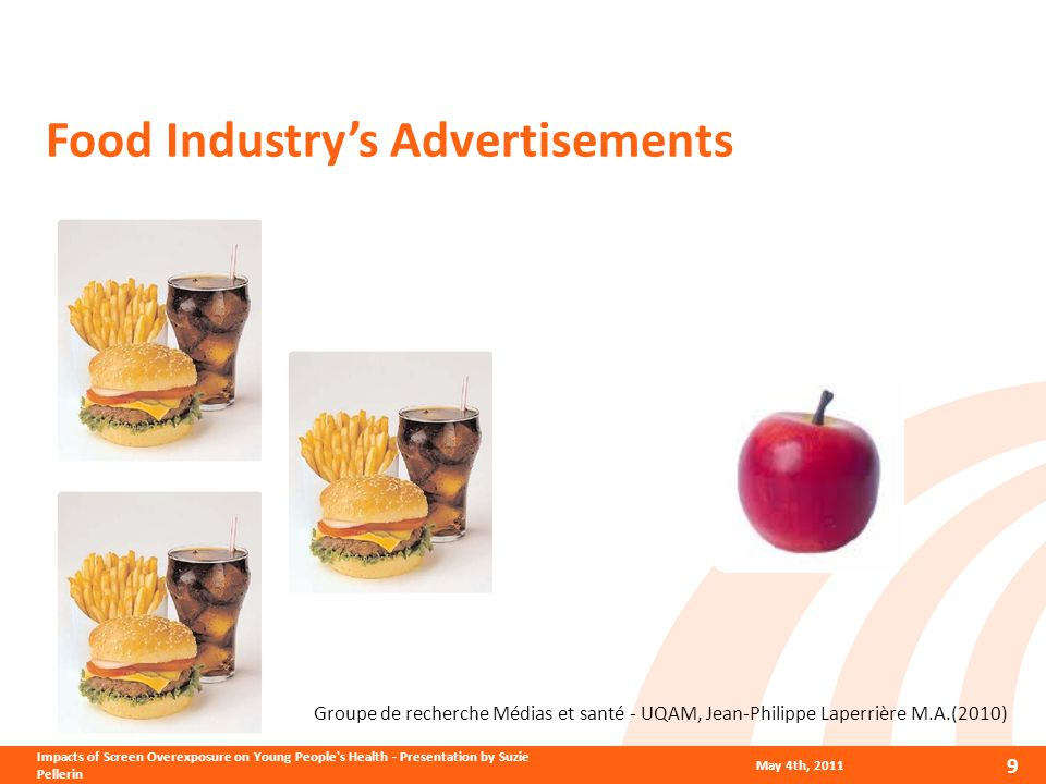Food Industry's Advertisements Groupe de recherche Médias et santé - UQAM, Jean-Philippe Laperrière M.A.(2010) May 4th, 2011 9 Impacts of Screen Overexposure on Young People s Health - Presentation by Suzie Pellerin