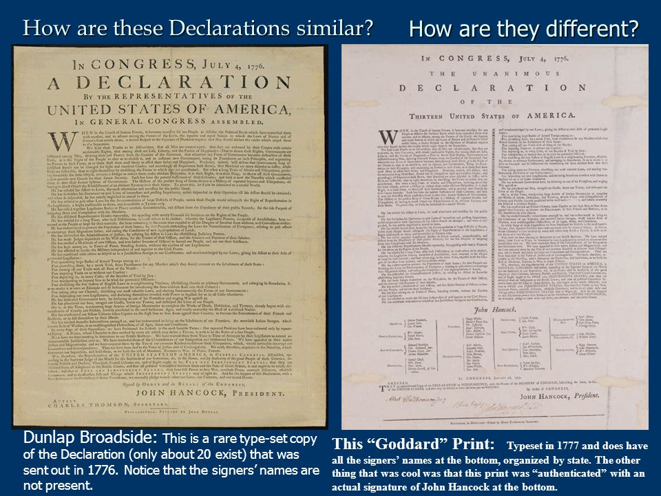 T here is a difference between the Declaration of Independence and the Constitution of the United States.