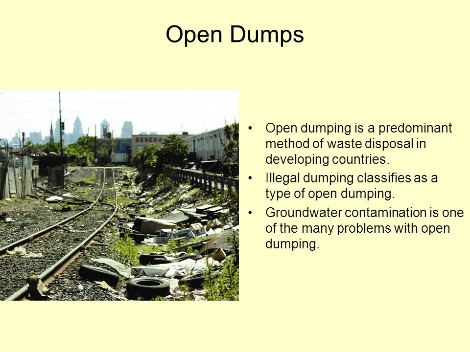 Sanitary Landfills Landfills control and regulate solid waste disposal with less smell, litter and vermin Refuse compacted and covered everyday with a layer of dirt.