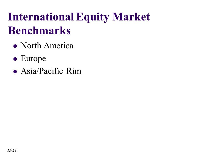 International Equity Market Benchmarks North America Europe Asia/Pacific Rim 13-24
