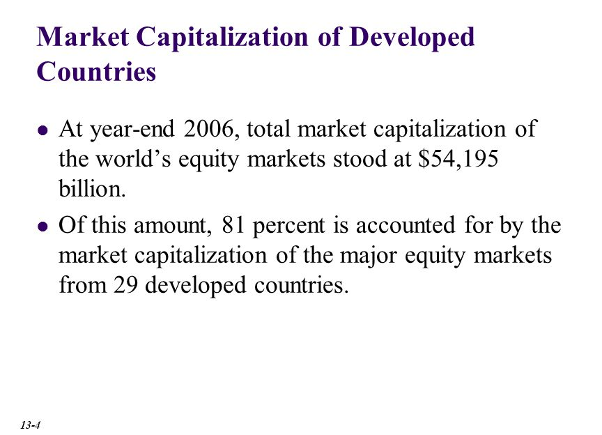 Market Capitalization of Developed Countries At year-end 2006, total market capitalization of the world's equity markets stood at $54,195 billion.