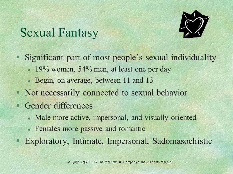 Sexual Fantasy §Significant part of most people's sexual individuality l 19% women, 54% men, at least one per day l Begin, on average, between 11 and