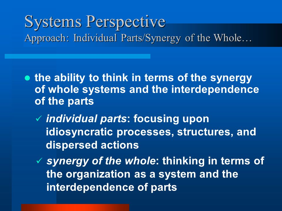 Systems Perspective Approach: Individual Parts/Synergy of the Whole… the ability to think in terms of the synergy of whole systems and the interdependence of the parts individual parts: focusing upon idiosyncratic processes, structures, and dispersed actions synergy of the whole: thinking in terms of the organization as a system and the interdependence of parts