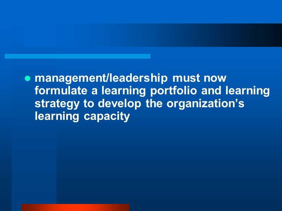 management/leadership must now formulate a learning portfolio and learning strategy to develop the organization's learning capacity