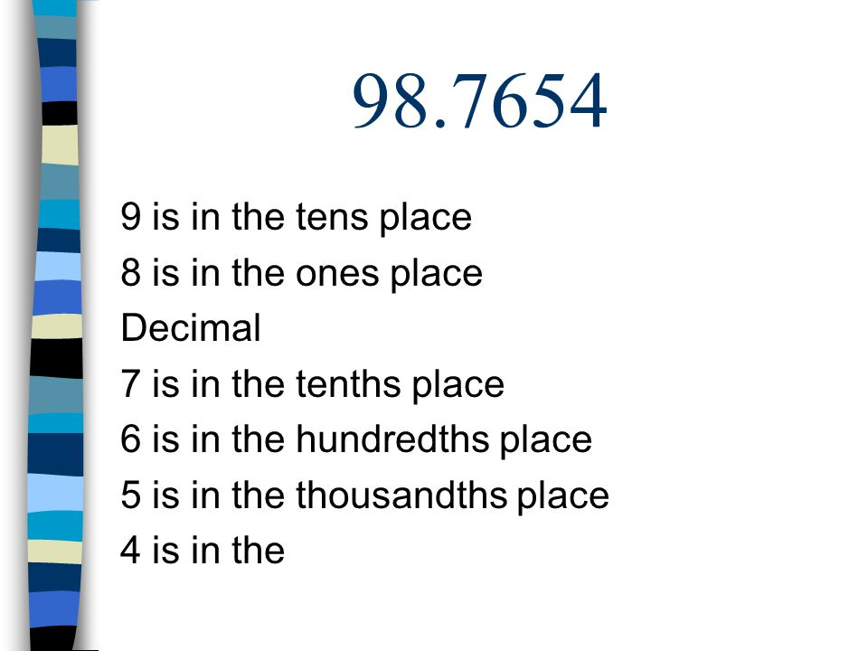 98.7654 9 is in the tens place 8 is in the ones place Decimal 7 is in the tenths place 6 is in the hundredths place 5 is in the thousandths place 4 is in the