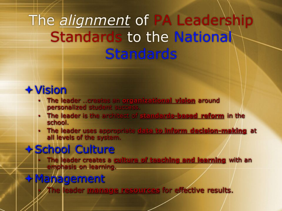 The alignment of PA Leadership Standards to the National Standards  Vision The leader..creates an organizational vision around personalized student success.