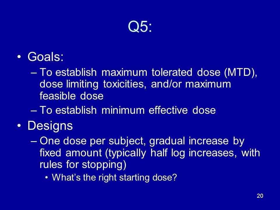 20 Q5: Goals: –To establish maximum tolerated dose (MTD), dose limiting toxicities, and/or maximum feasible dose –To establish minimum effective dose