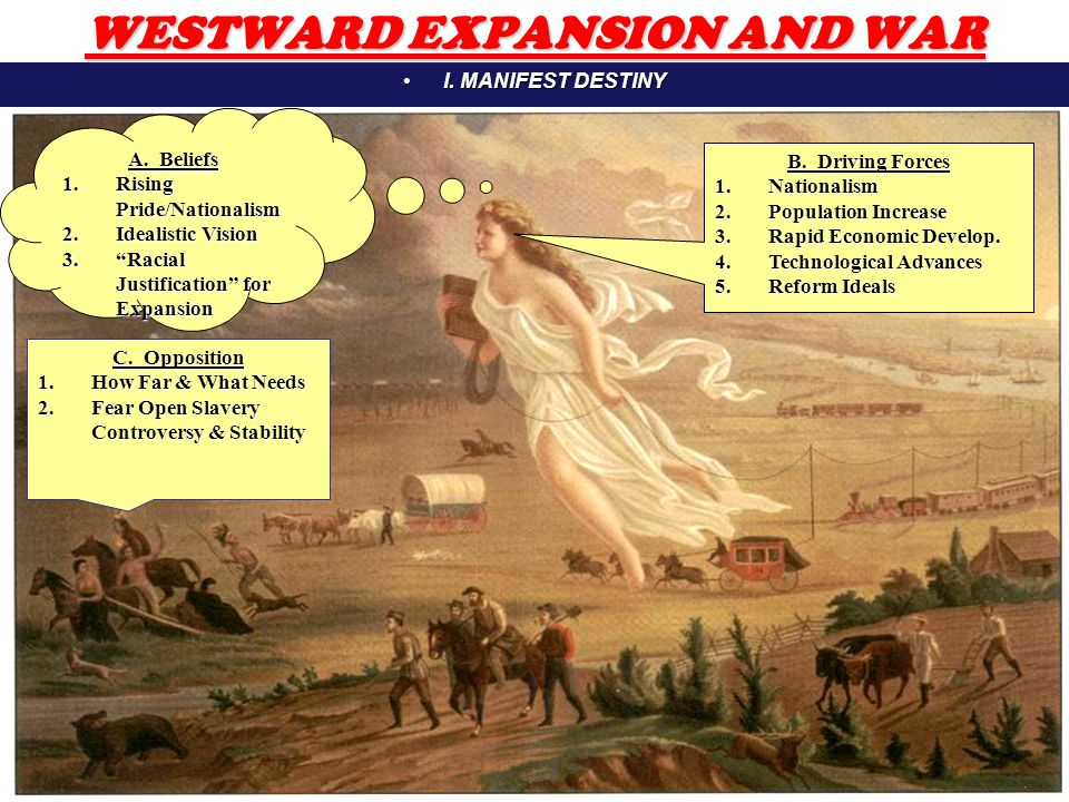 2 WESTWARD EXPANSION AND WAR I.MANIFEST DESTINYI.