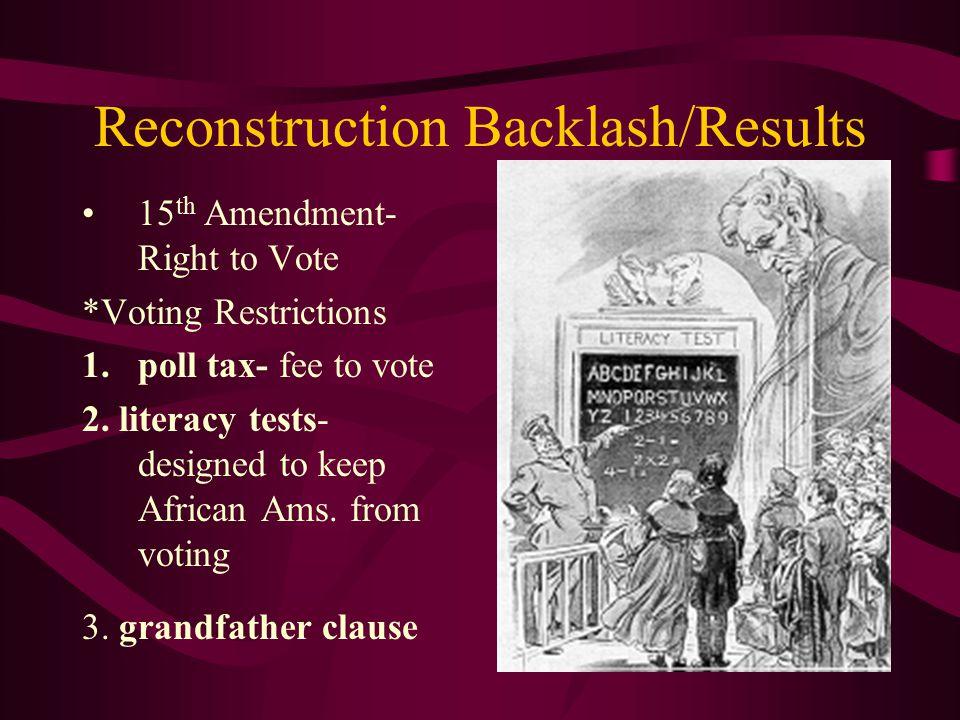 Reconstruction Backlash/Results 14 th Amendment-Rights of Citizen *Jim Crow laws- superior/inferior, societal norms *Plessy v.