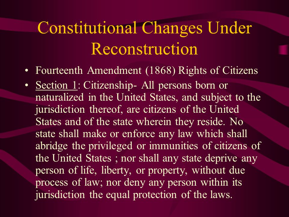 Thirteen Amendment (1865) Slavery and Involuntary Servitude Before After