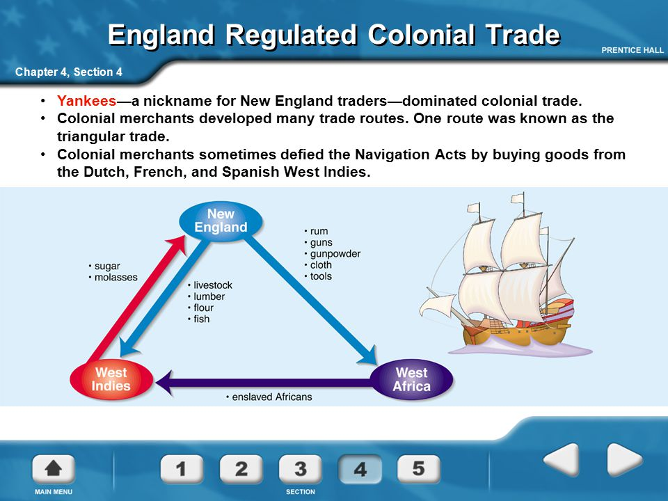 Chapter 4, Section 4 England Regulated Colonial Trade Yankees—a nickname for New England traders—dominated colonial trade. Colonial merchants develope