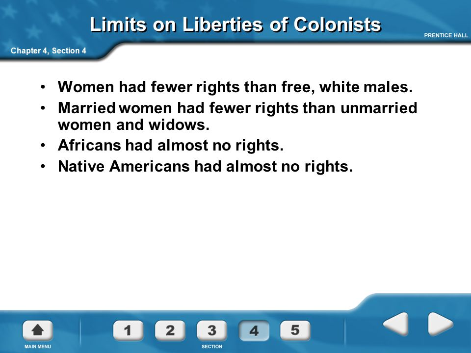 Chapter 4, Section 4 Limits on Liberties of Colonists Women had fewer rights than free, white males. Married women had fewer rights than unmarried wom