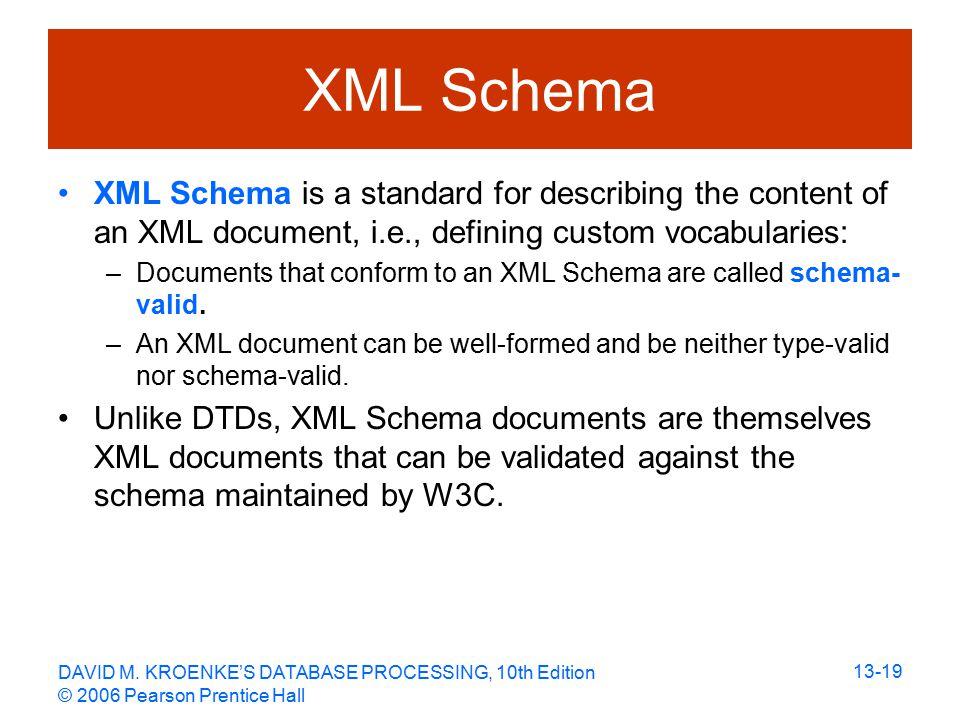 DAVID M. KROENKE'S DATABASE PROCESSING, 10th Edition © 2006 Pearson Prentice Hall 13-19 XML Schema XML Schema is a standard for describing the content