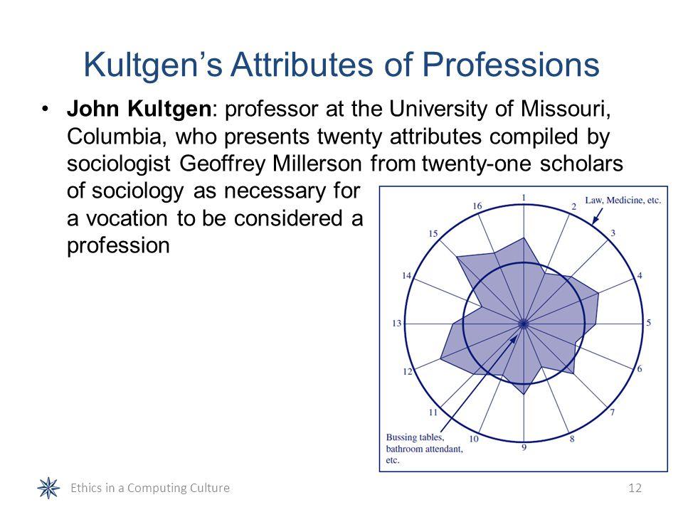 Kultgen's Attributes of Professions John Kultgen: professor at the University of Missouri, Columbia, who presents twenty attributes compiled by sociol