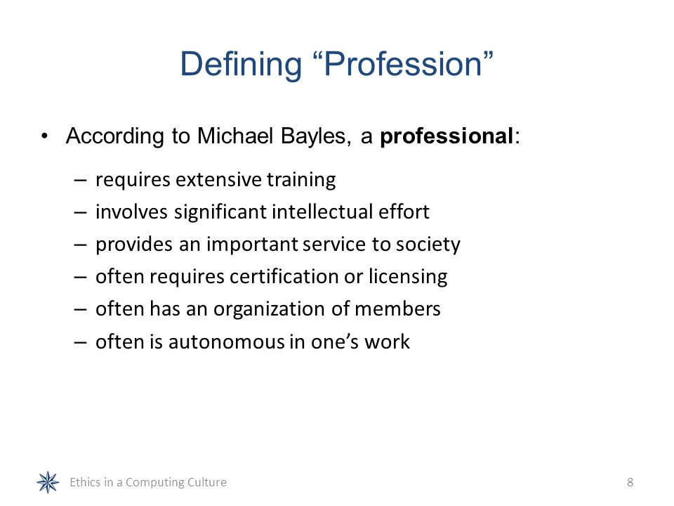 Defining Profession No single definition of profession is accepted by everyone Does having a license turn you into a professional.
