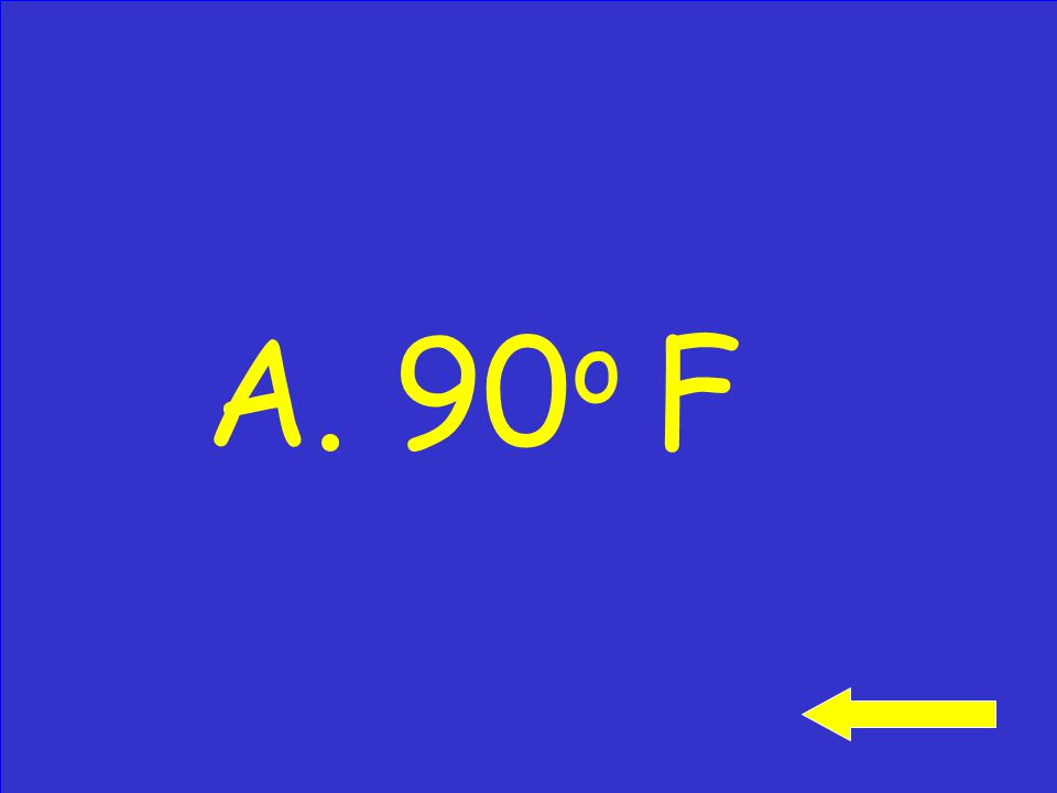 What is the temperature on the thermometer? A. 90 o F B. 100 o F C. 80 o F Click to see answer