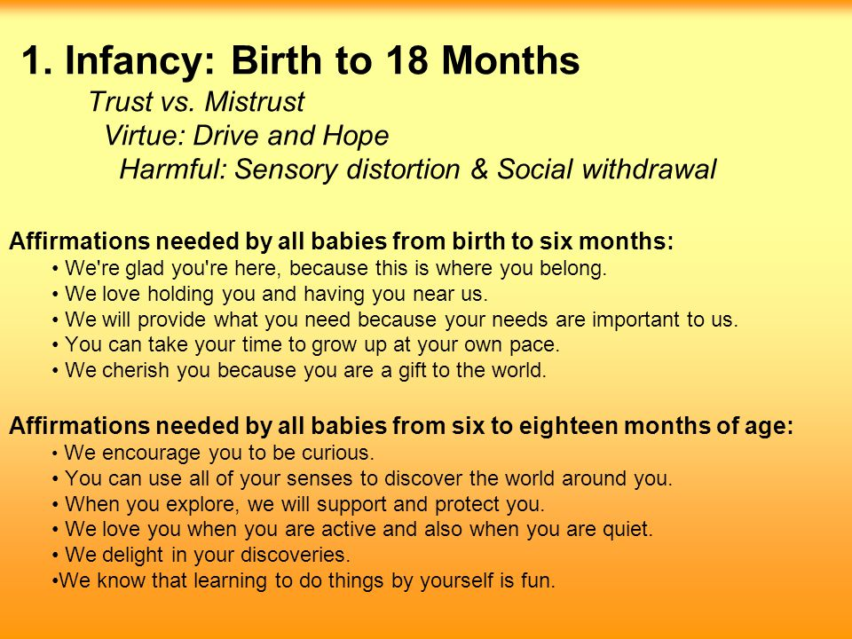 Affirmations needed by all babies from birth to six months: We're glad you're here, because this is where you belong. We love holding you and having y