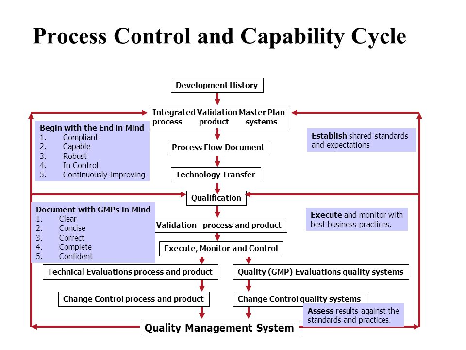 Process Control and Capability Cycle Development History Technical Evaluations process and productQuality (GMP) Evaluations quality systems Integrated Validation Master Plan processproductsystems Change Control process and productChange Control quality systems Process Flow Document Technology Transfer Qualification Validationprocess and product Execute, Monitor and Control Quality Management System Begin with the End in Mind 1.Compliant 2.Capable 3.Robust 4.In Control 5.Continuously Improving Establish shared standards and expectations Execute and monitor with best business practices.