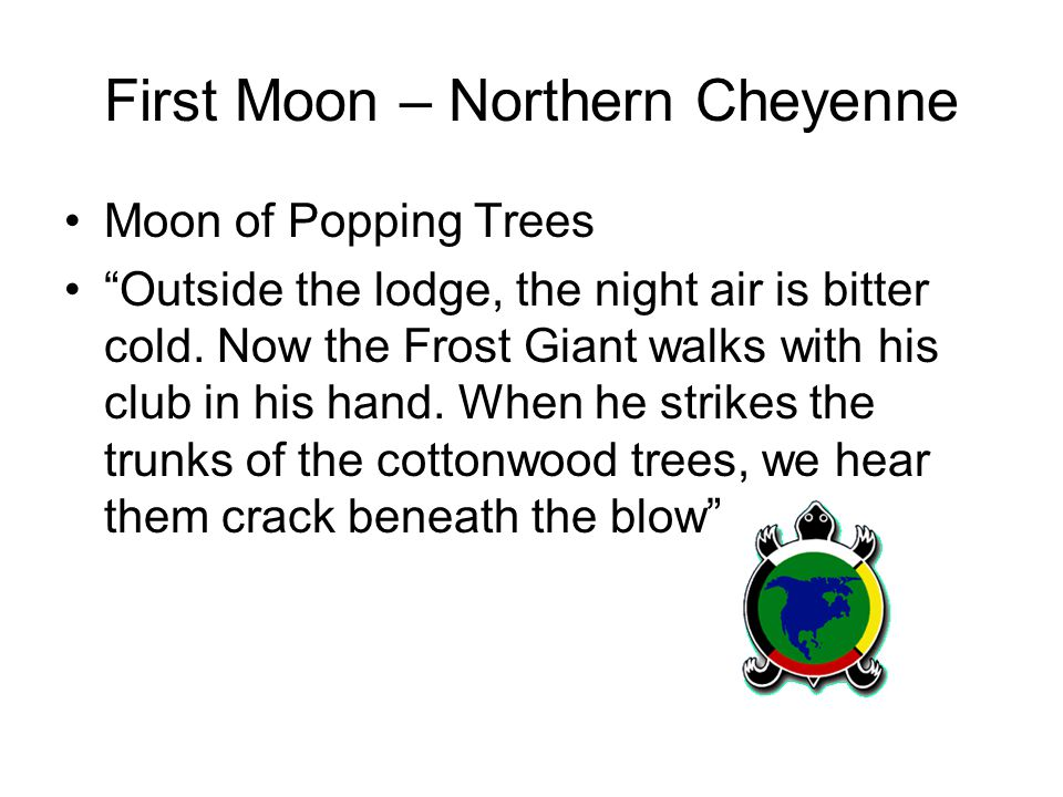 First Moon – Northern Cheyenne Moon of Popping Trees Outside the lodge, the night air is bitter cold.