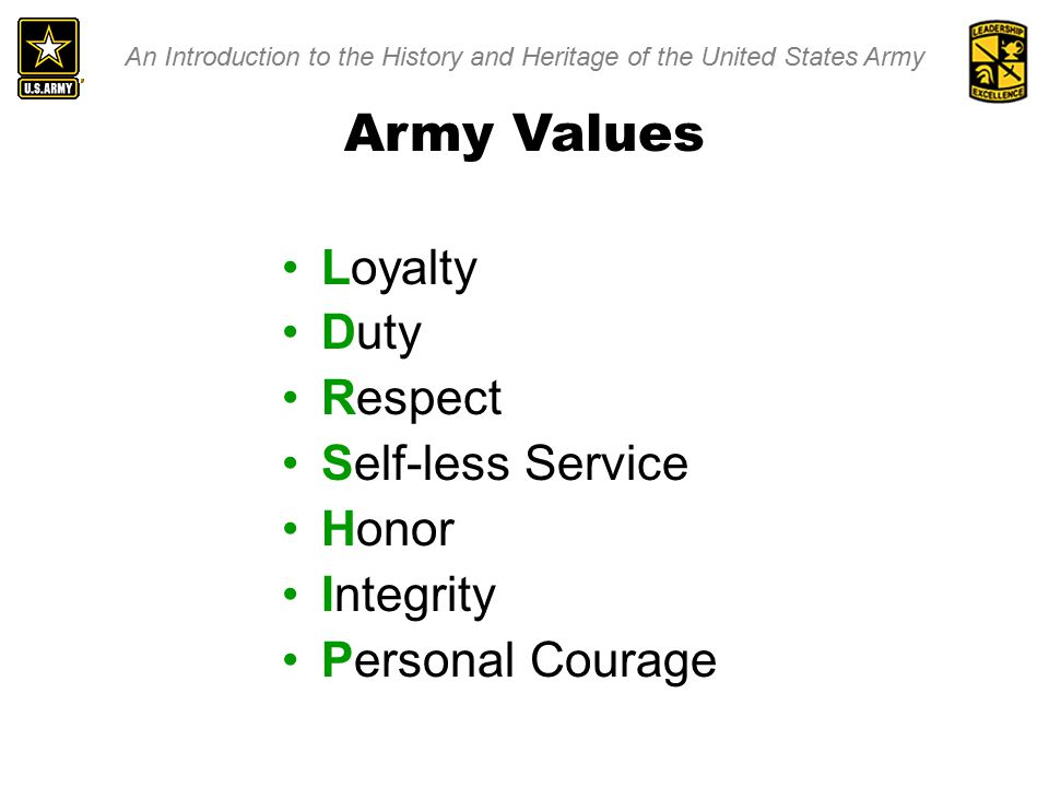 An Introduction to the History and Heritage of the United States Army Army Values Loyalty Duty Respect Self-less Service Honor Integrity Personal Courage