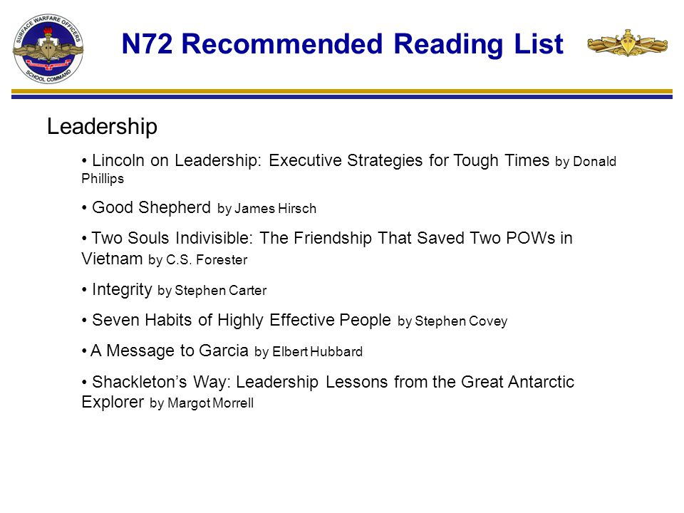 N72 Recommended Reading List Leadership Lincoln on Leadership: Executive Strategies for Tough Times by Donald Phillips Good Shepherd by James Hirsch Two Souls Indivisible: The Friendship That Saved Two POWs in Vietnam by C.S.