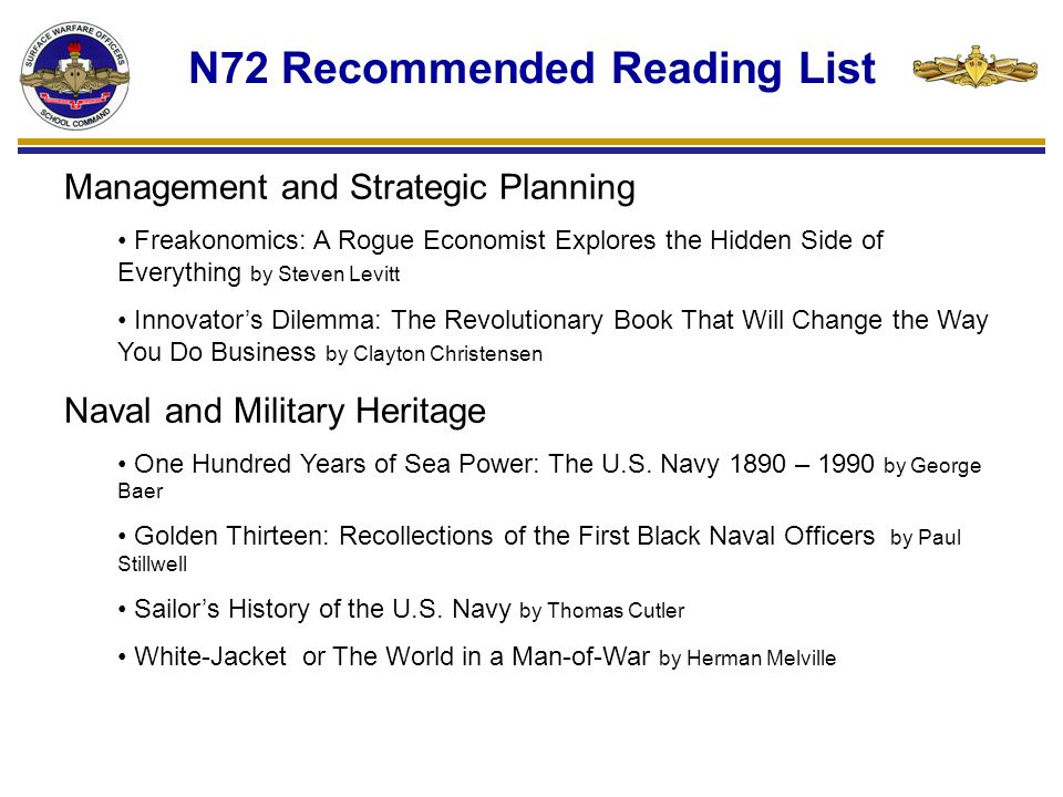 N72 Recommended Reading List Regional and Cultural Awareness On the Origins of War: And the Preservation of Peace by Donald Kegan Recognizing Islam: Religion and Society in the Modern Middle East by Michael Gilsenan Further Reading http://www.navyreading.navy.mil/books.aspx