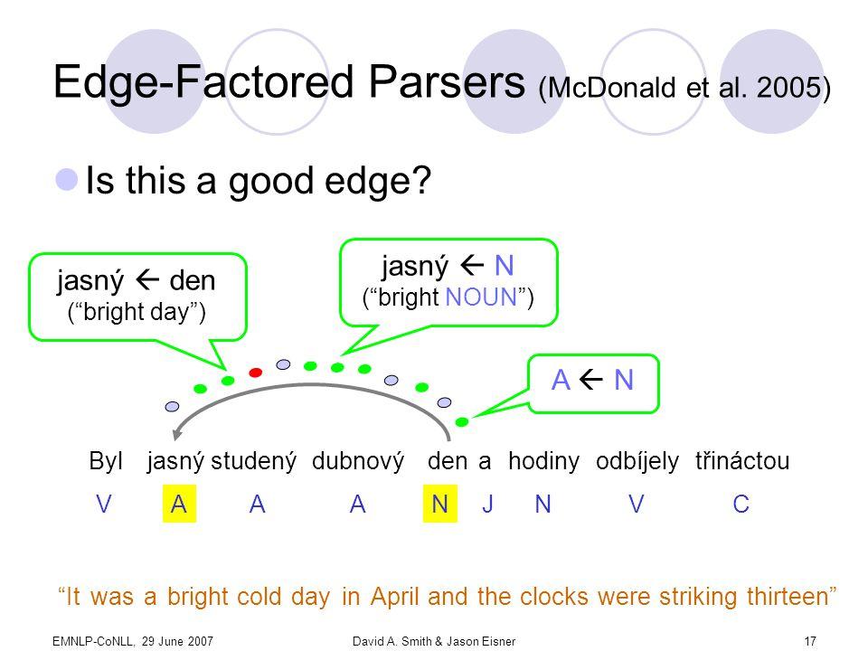 EMNLP-CoNLL, 29 June 2007David A. Smith & Jason Eisner17 Edge-Factored Parsers (McDonald et al.