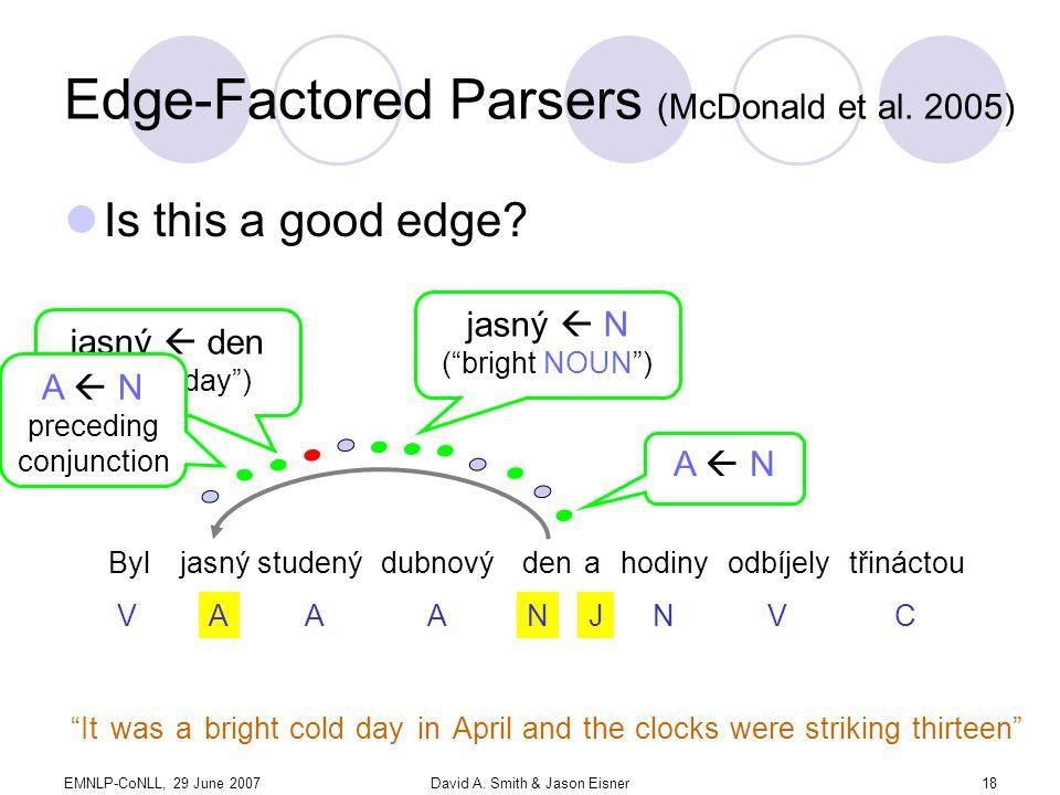 EMNLP-CoNLL, 29 June 2007David A. Smith & Jason Eisner18 Edge-Factored Parsers (McDonald et al.