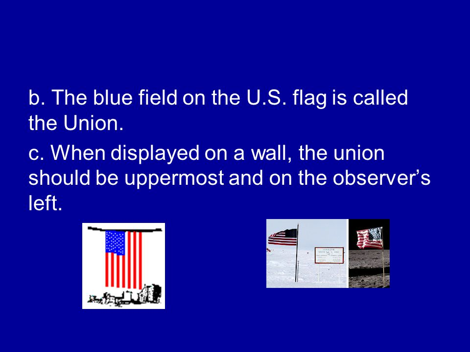 b. The blue field on the U.S. flag is called the Union.