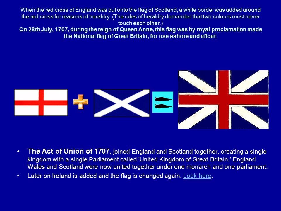 When the red cross of England was put onto the flag of Scotland, a white border was added around the red cross for reasons of heraldry.
