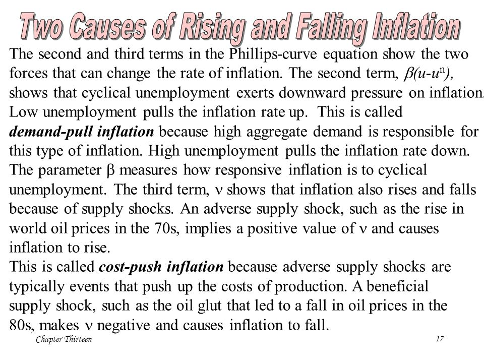 Chapter Thirteen17 The second and third terms in the Phillips-curve equation show the two forces that can change the rate of inflation.
