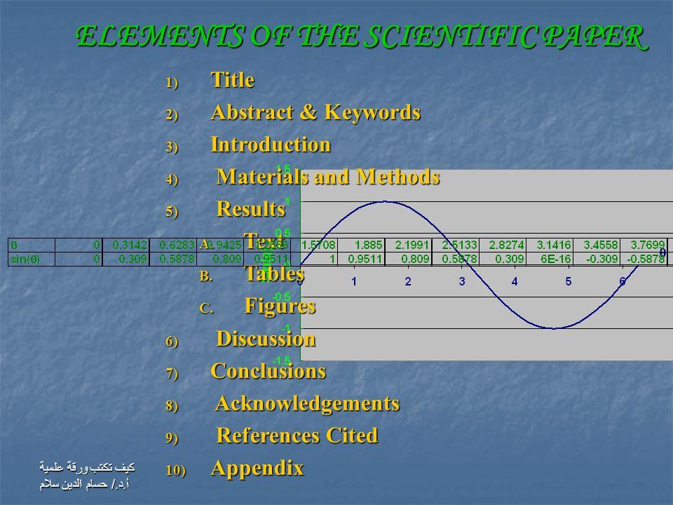 كيف تكتب ورقة علمية أ.د./ حسام الدين سلام 1) Title 2) Abstract & Keywords 3) Introduction 4) Materials and Methods 5) Results A.