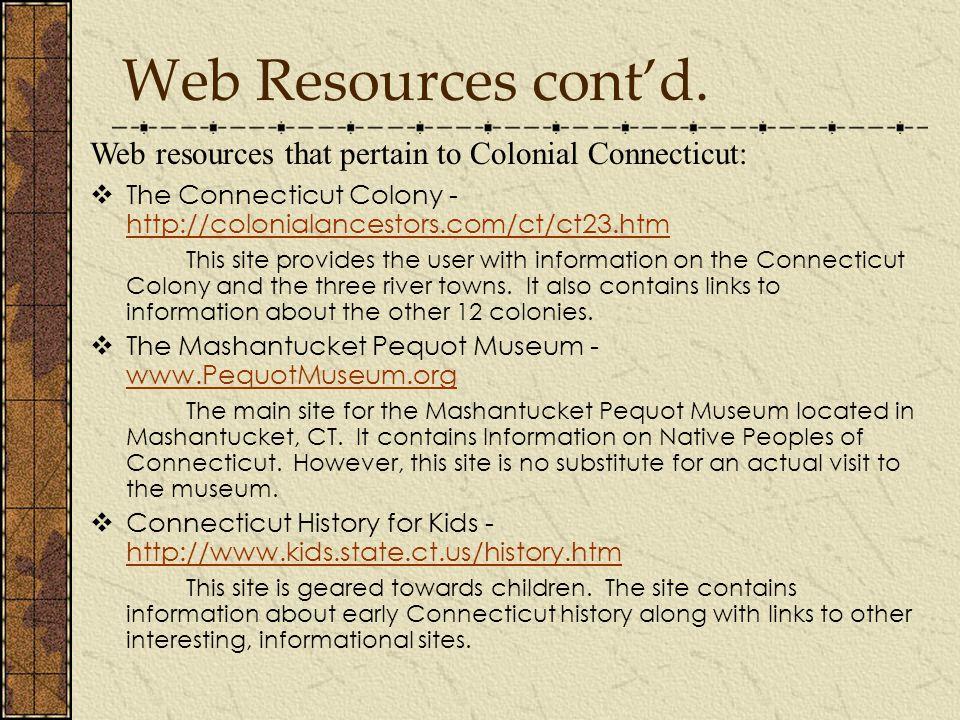 Web Resources cont'd.