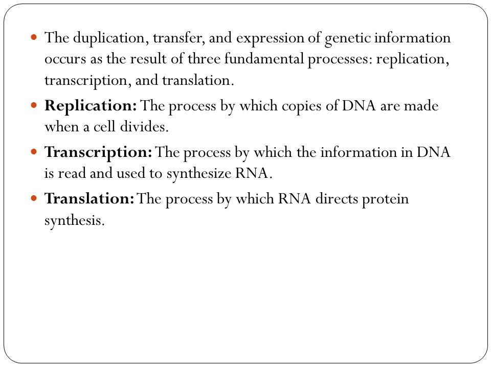 The duplication, transfer, and expression of genetic information occurs as the result of three fundamental processes: replication, transcription, and