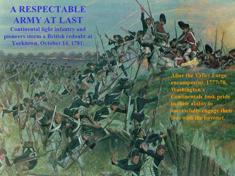 A RESPECTABLE ARMY AT LAST Continental light infantry and pioneers storm a British redoubt at Yorktown, October 14, 1781. After the Valley Forge encam