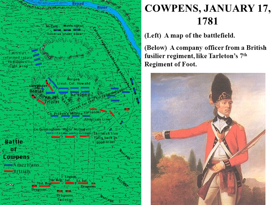 COWPENS, JANUARY 17, 1781 (Left) A map of the battlefield.