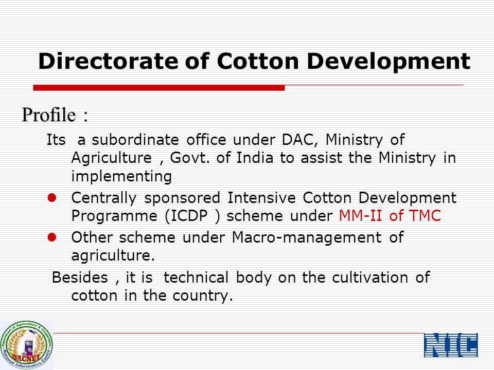 Activities : To coordinate and monitor the implementation of ICDP under MM-II of TMC at National level.