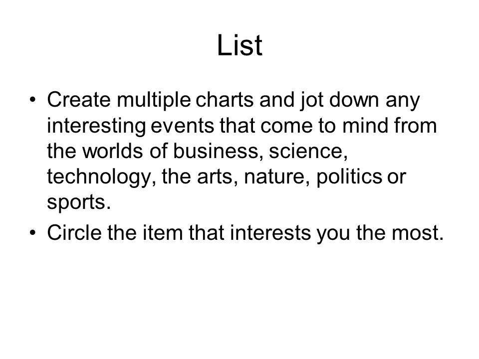 List Create multiple charts and jot down any interesting events that come to mind from the worlds of business, science, technology, the arts, nature, politics or sports.
