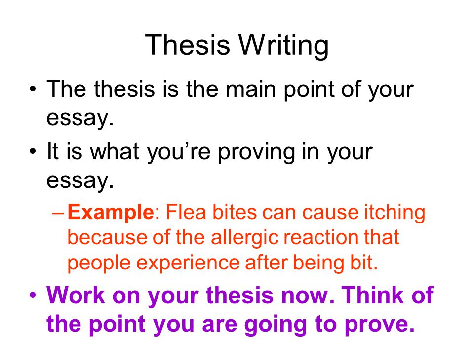 Thesis Writing The thesis is the main point of your essay.