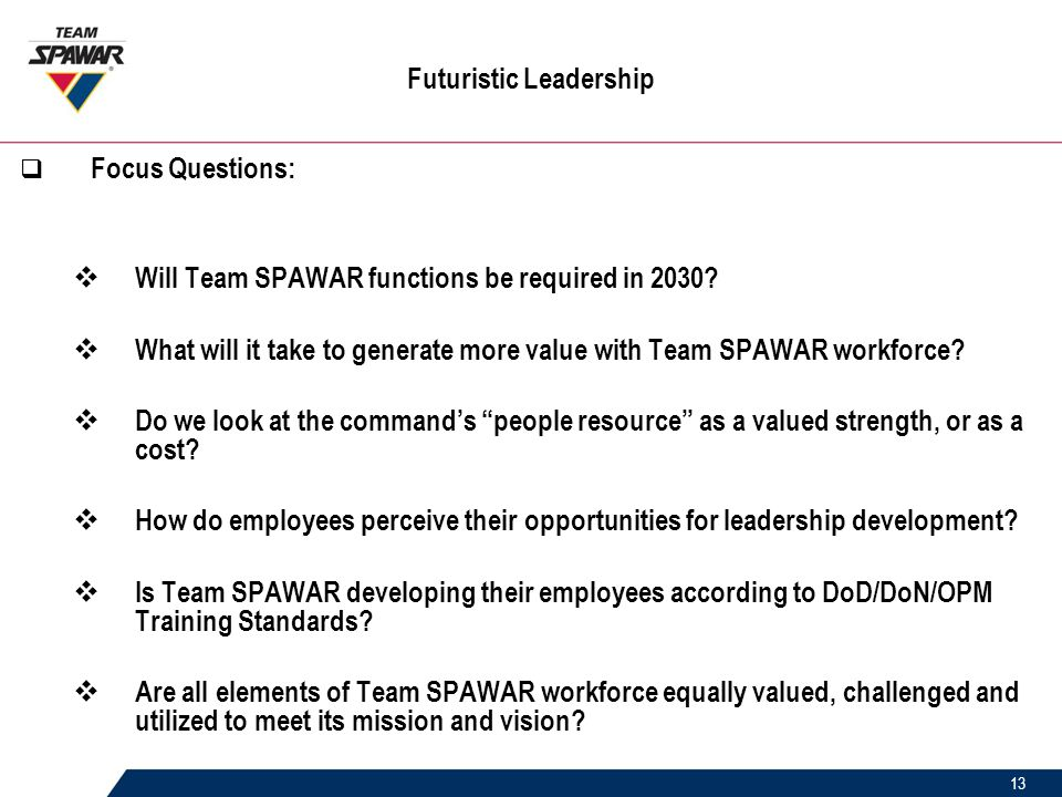13 Futuristic Leadership  Focus Questions:  Will Team SPAWAR functions be required in 2030.