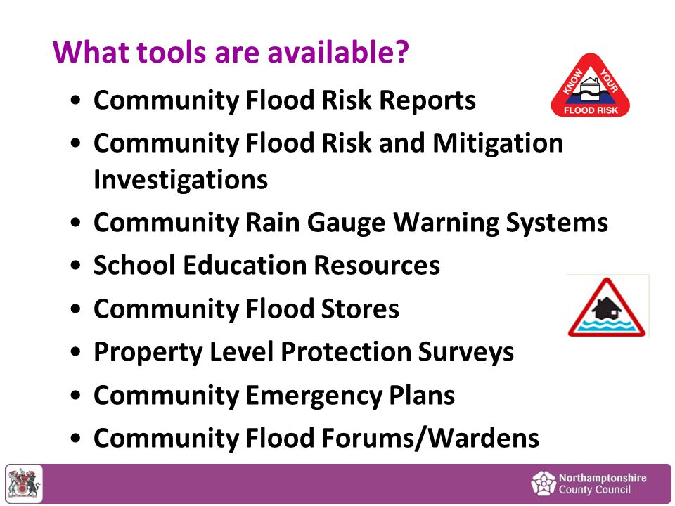 Funding Mechanisms Tool AudienceMeasures Funding Opportunities Individuals Communities Businesses Property Level Protection Flood Investigations Maintenance Infrastructure £££ Case Studies